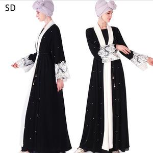 Muslim Front Open Abaya Robes Syari Dubai Fashion Muslim Full Length Cardigan Lace Abaya Dress Service Abayas