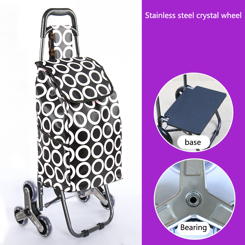 Поднимайтесь вверх, тележка для покупок, большие товары, товары, чехол на колесиках, складная тележка для прицепа, бытовая Портативная сумка для покупок, женская сумка - Цвет: Upgrade style 5