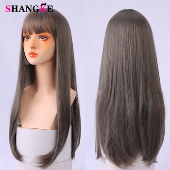SHANGKE Cosplay Wig Long Straight Synthetic With Bangs Wigs for Women African American Lolita wig