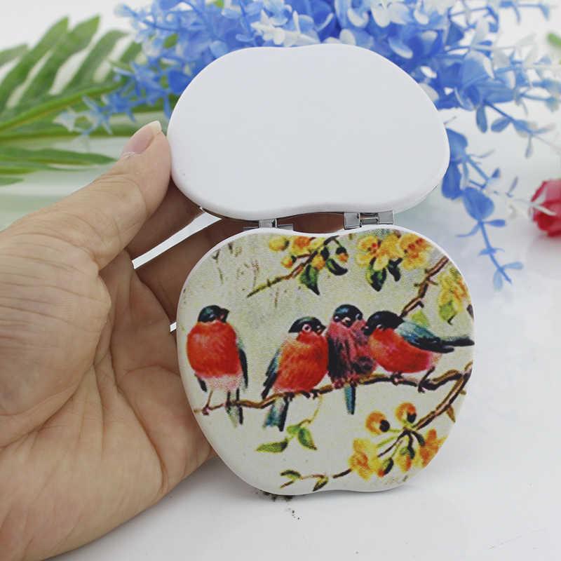 Jweijiao 동성애 우정 애플 게임 모양의 손 거울 빈티지 애니메이션 예술 접는 주머니 거울 남자 친구 dm160