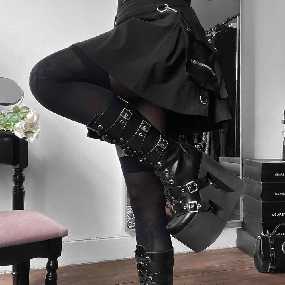 SUCHCUTE pockage 여성 스커트 Modis 고딕 a 라인 pleated 미니 스커트 봄 2020 블랙 streetwear 와일드 스키니 파티 의상