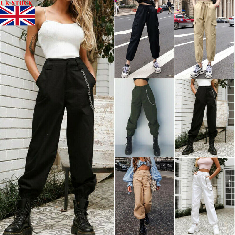 Women High Waist Cargo Pants Trousers Lady Military Army Combat Casual Jogger Zipper Loose Without Chain Pants Tracksuit S-2XL