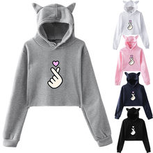 Female Hoodies S-XXXL Autumn Winter Fleece Cat Ears Pullover Solid Thick Loose Women Hoodies Sweatshirts Female Casual HX0729(China)