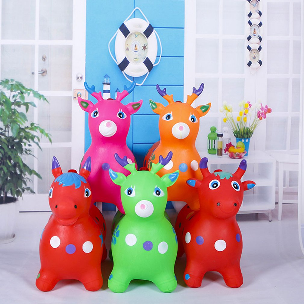 Jumping Horse Riding Animal Toys Kids Animal Bouncy Horse Hopper Toys Inflatable Bouncer Baby Play Outdoor/Indoor Toys Hand Pump