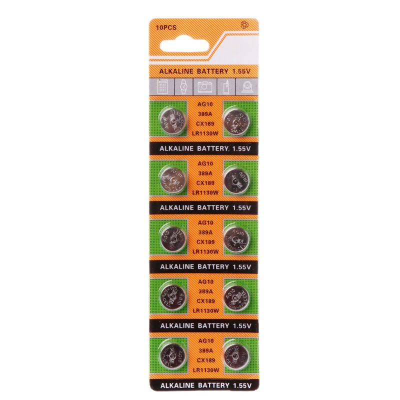 10PCS Button Coin Cell Battery AG10 1.5V Watch Batteries SR54 389 189 LR1130 SR1130 Toys Control Remote R9UA