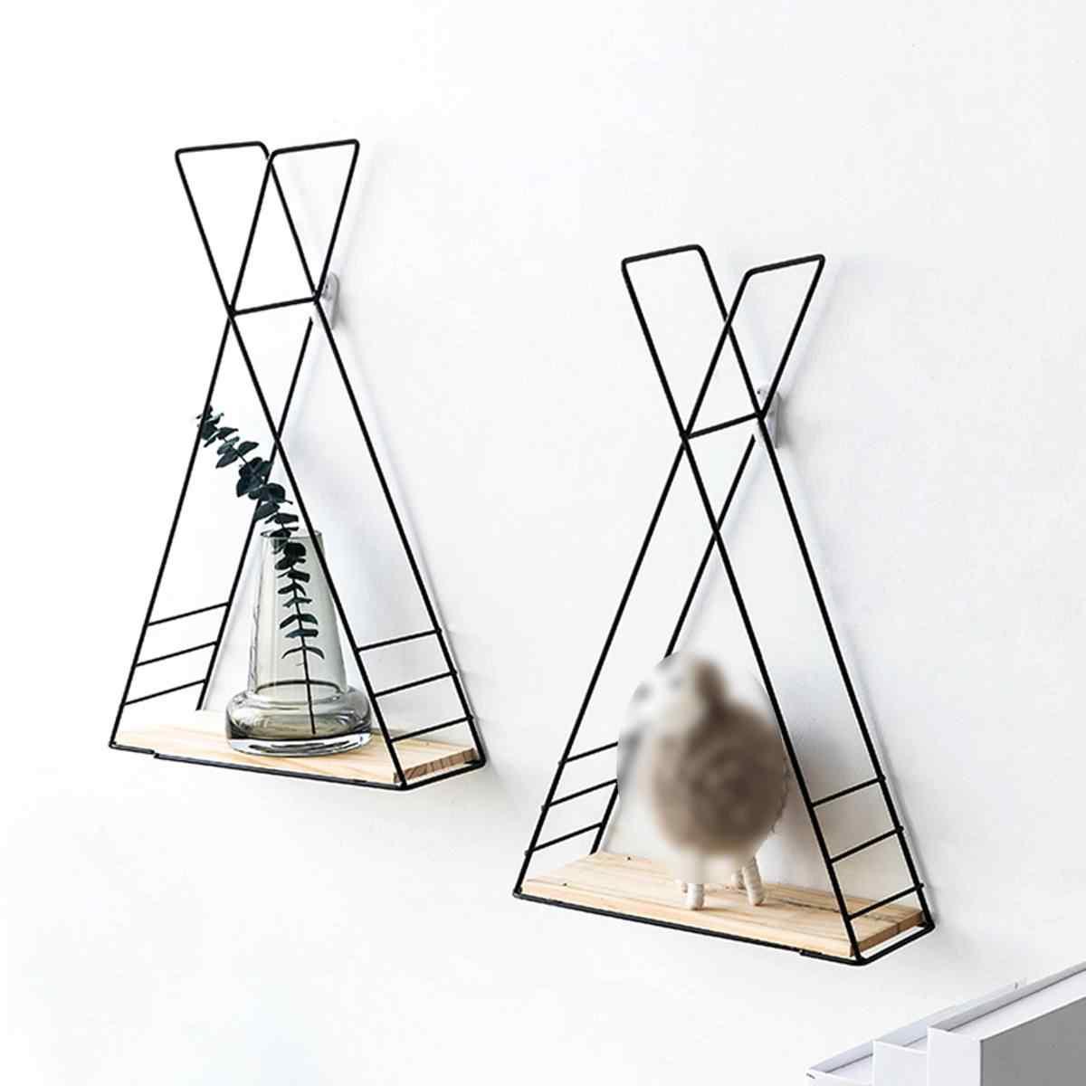 Metallo A Parete Appeso Triangolo Mensola con Woden Bordo Dell'organizzatore di Immagazzinaggio di Visualizzazione Cremagliera Oro Nero