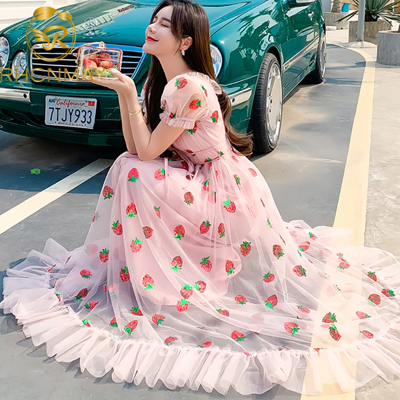 New Summer Strawberry Sequined Embroidery Ruffles Sweet Maxi Dress Women V-neck Puff Sleeve Bow Tulle big Swing Long Dress