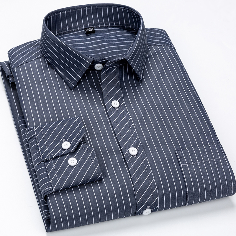 Classic Striped Plaid Men's Middle-aged Long Sleeve Casual Shirt Male Social Slim Fit Business Dress Shirt Size 4XL