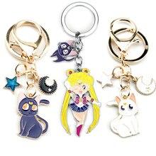 Anime Trinket Keyrings Jewelry Keyholder Keychain Sailor Cat-Pendant Gift Moon Cartoon