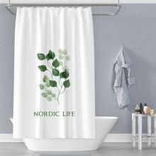 Shower Curtain Cartoon Plant Modern Bathroom Bathtub Waterproof Shower Curtain Large Wide Shower Cover Free 12 Hooks