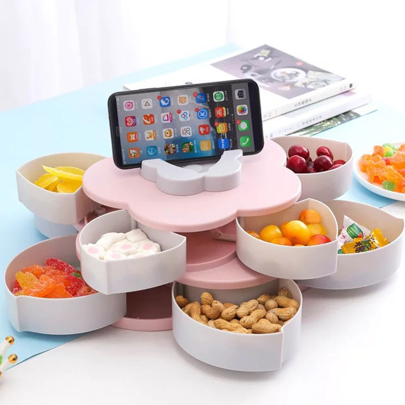 Phone holder creative pattern rotating double fruit plate double candy box wedding wedding candy petals dried fruit box bracket|Dishes & Plates| |  -