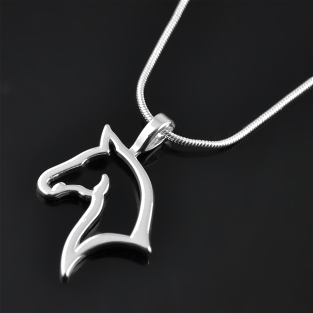 my shape Fashion Silver Plated Cut Out Horse Head Pendant Charm Necklace Equestrian Jewelry Gift for Cowgirl or Horse Lover