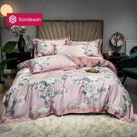 Sondeson Women Pink 100% Silk Healthy Bedding Set 25 Momme Silk Flower Duvet Cover Set Pillowcase Flat Sheet Queen King 4PCS