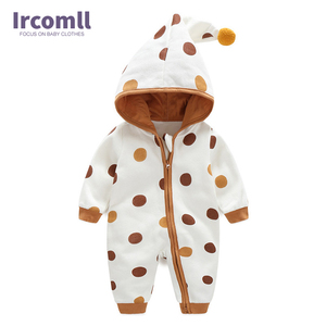 Image 2 - Newborn Baby Romper Kid Jumpsuit Hooded Infant  Outfit Clothes Long sleeve Polka Dot Baby Rompers Overalls of Toddler body suit