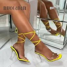 Shoes Woman Dress Sandals Pumps Cross-Strap Ankle High-Heels Peep-Toe High-10.5cm Summer