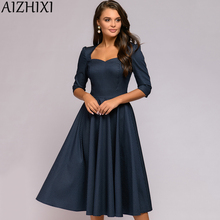 AIZHIXI Square Collar 3/4 Sleeve Print Woman Dress Autumn Sexy Backless Bow Tie A Line Mid-Calf Vintage Dresses For Women 2020