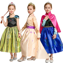 Anna Girls Dress Party Birthday Anna Elsa Cosplay Costume Princess Dresses For Girl  Snow Queen Baby Girl Costumes Snowflake Glo froz 2en cosplay costume snow girl elsa dress costume halloween cosplay elsa anna costume princess ice queen outfit full set