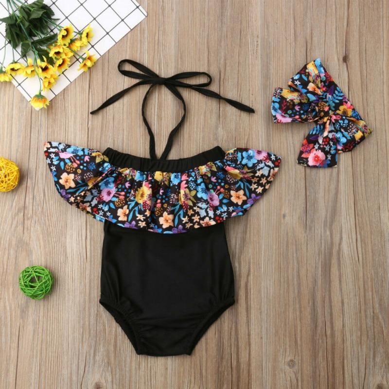 2PCS Kids Baby Girls Flower Ruffle Swimwear Bikini Tankini Swimsuit Bathing Suit Beachwear Biquini