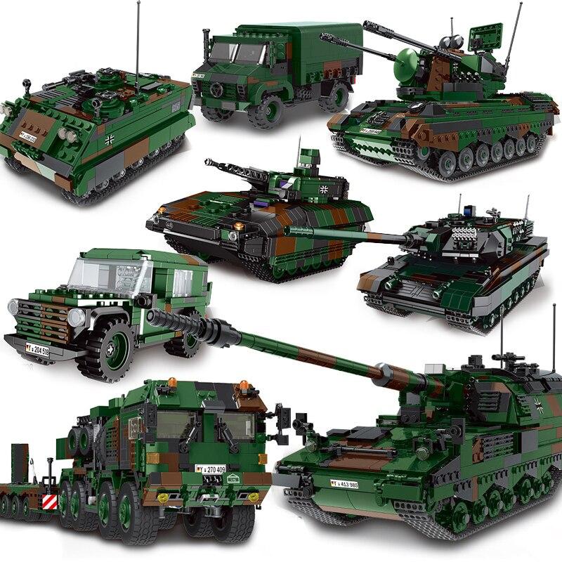 Ww2 alemanha exército militar conjuntos de veículos blocos de construção tijolos brinquedos segunda guerra mundial 2 tanques pantera unimog caminhão homem hx81 transportadora