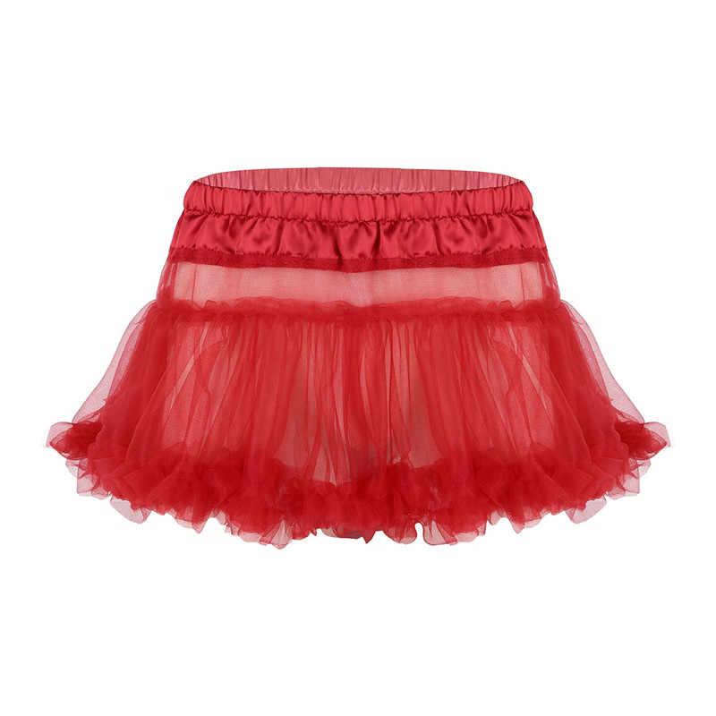 Sexy Homme męskie Sissy spódnica dla bielizna nocna satynowa elastyczny pas plisowane potargane Tulle warstwowa spódnica krótka Mini spódnica Tutu
