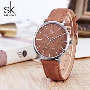 Image 4 - Nieuwe Shengke 40Mm Dial Lady Quartz Horloge Groen Lederen Casual Stijlvolle Vrouwen Horloges Geschenkdoos Relogio Femininostreet