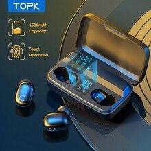 TOPK TWS Bluetooth V5.0 cuffie Wireless impronta digitale Touch auricolare Bluetooth 1500mAh scatola di ricarica sport auricolari impermeabili