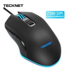 TeckNet 7200DPI Mouse Programável RGB DIODO EMISSOR de Luz Com Fio Mouses Gamer para PC Laptop 6 Botões Optical Gaming Ratos para computador(China)