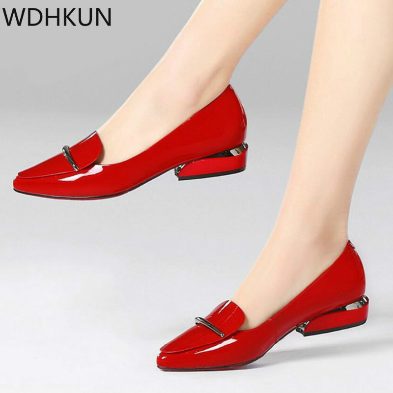 2020 Elegant Red Pointed Toe Flat Shoes Women Patent Leather Flats Fashion Slip On Ladies Shoes Lady Slip On Ballet Office Shoes