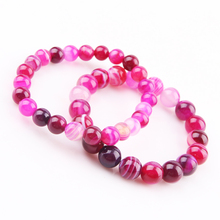 2020 Natural Pink Agates carnelian stone crystal quartz beads bracelets for women round beads bracelet pendant vintage jewelry red watermelon tourmaline stone beads bracelet for women men natural stone bracelet crystal quartz bracelets elastic