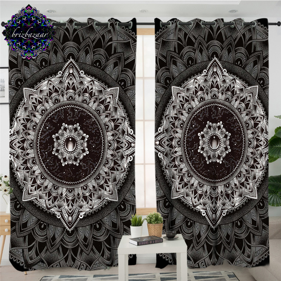 Mandala By Brizbazaar Curtains For Living Room Black White Flower Kitchen Curtains Vintage Gemstone Curtain Bohemia Gardinen
