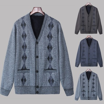 Men Stitching Color Sweater Button Knitted Cardigan Loose Sweater Long Sleeve Top Winter Warm Sweater 2020