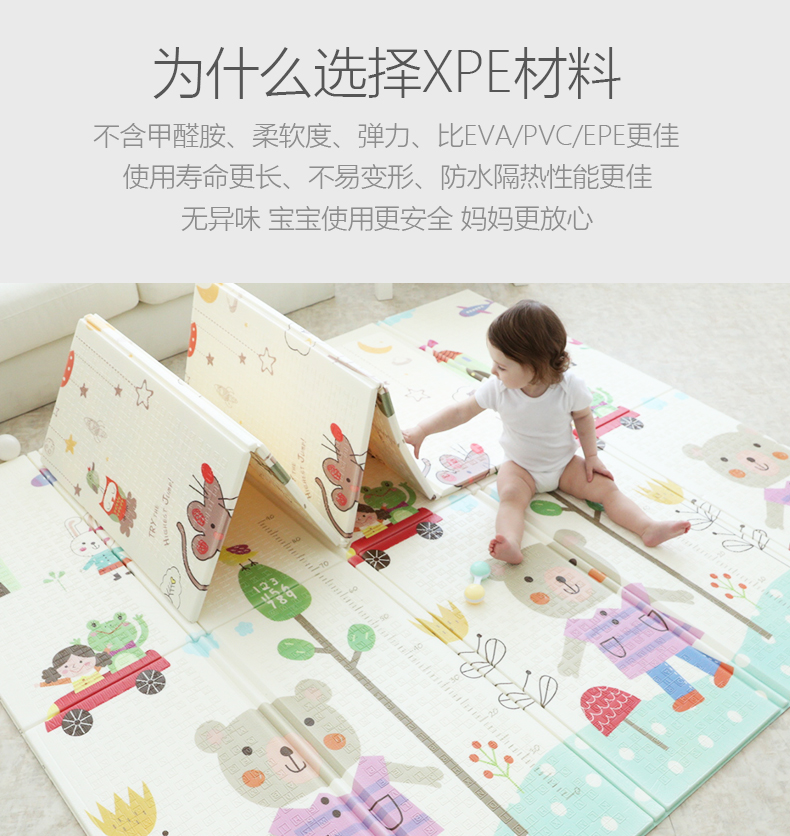Baby Crawling Mat Thickening Baby Collapsible Living Room Home XPE Mat Child Climbing Mat Stitching