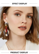 New Fashion Multicolor Acrylic Leopard Dangle Earring Muli-Layer Long Chain Link Statement Big Drop Earrings For Women Jewelry