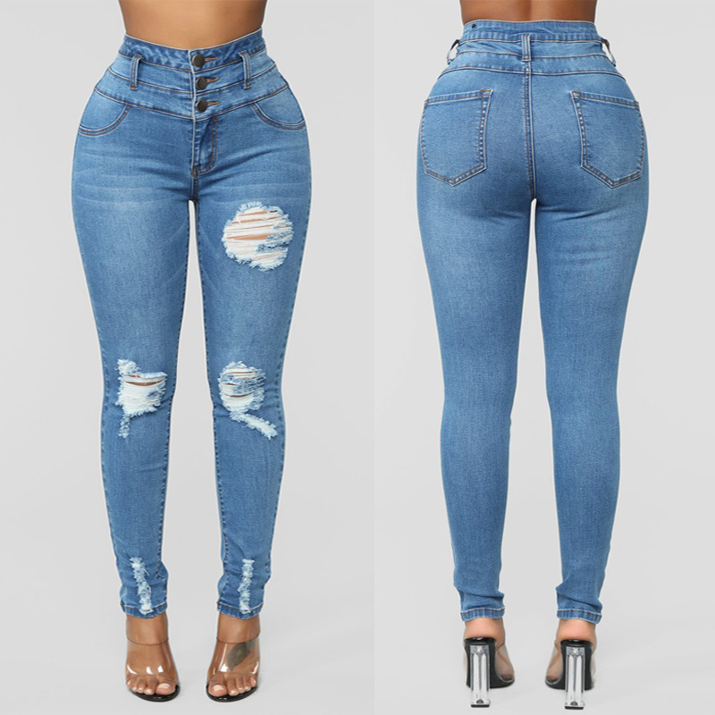 2019 Europe And America WOMEN'S Dress Versatile Jeans Wish High-waisted Three Buckle Elasticity Skinny Pants Children