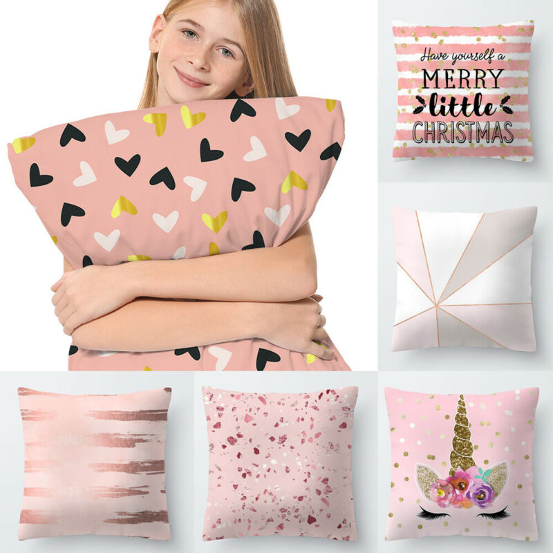 2019 Brand New Polyester Cushion Cover Case Cover Rose Gold Throw Car Cushion Cover Home Textile in Cushion Cover from Home Garden