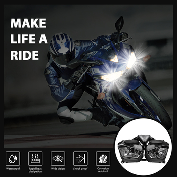 KEMiMOTO Headlight For YAMAHA YZF R25 R3 Motorcycle Head light lamp Assembly with Bulb YZF-R3 YZF-R25 2013 2014 2015 2016 2017