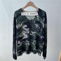 New 2020 V neck Knitted Sweater Women Long Sleeve Slim Camouflage Print Lady Knitwear Jumpers Femme Bottoming Pullover Top