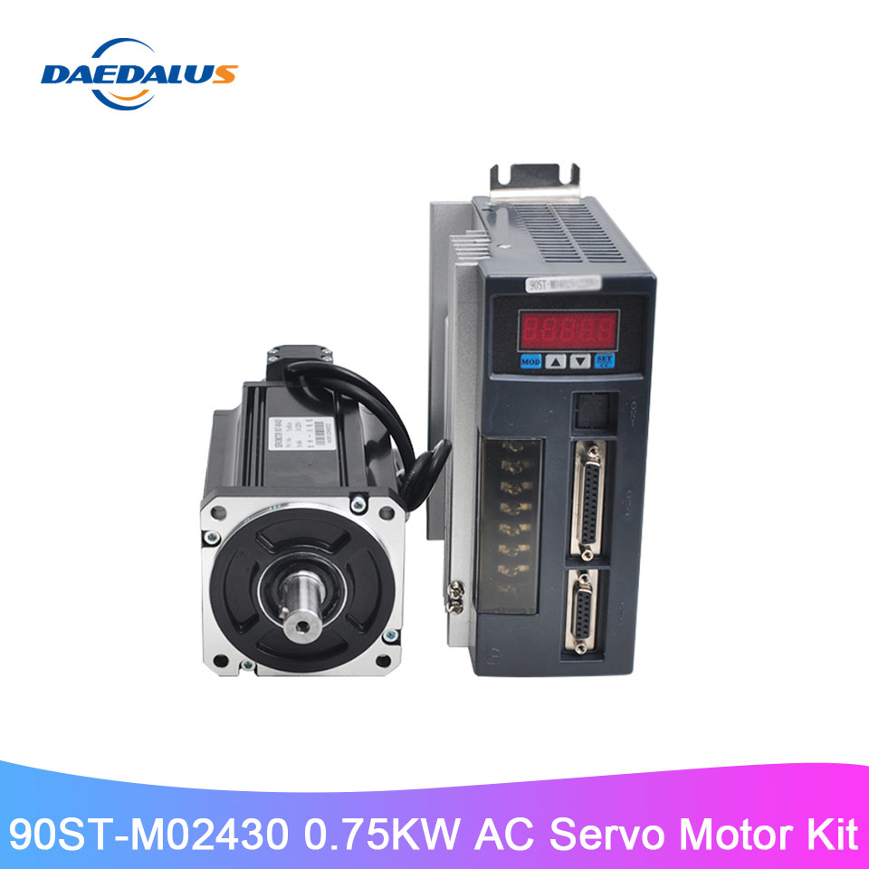 90ST-M02430 AC Servo Motor Kit 0.75KW 220V Servo Motor Single Phase Motor With Matched Drive 3M Encoder Cable For CNC Machinery