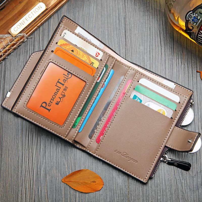 Carteira coreana casual vertical masculina, curta, portátil, casual, multi-função, britânica, para cartão, com zíper, fivela em triângulo dobrável