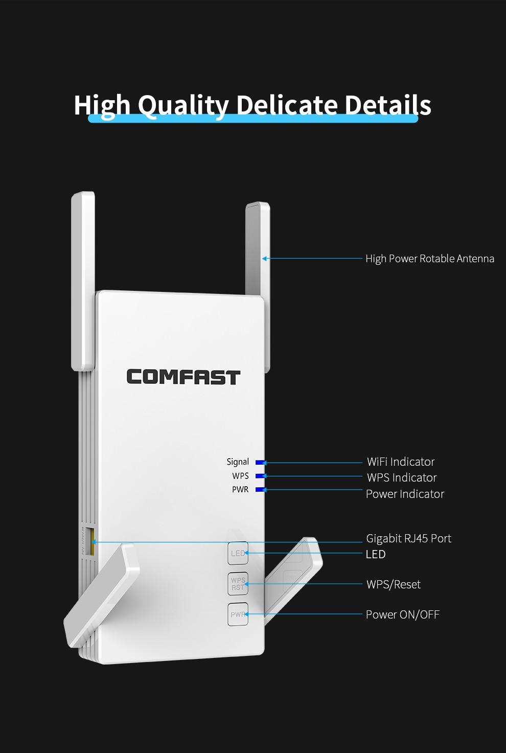 Répéteur amplificateur de signal sans fil longue distance 2.4G et 5.8G 2100 Mbits