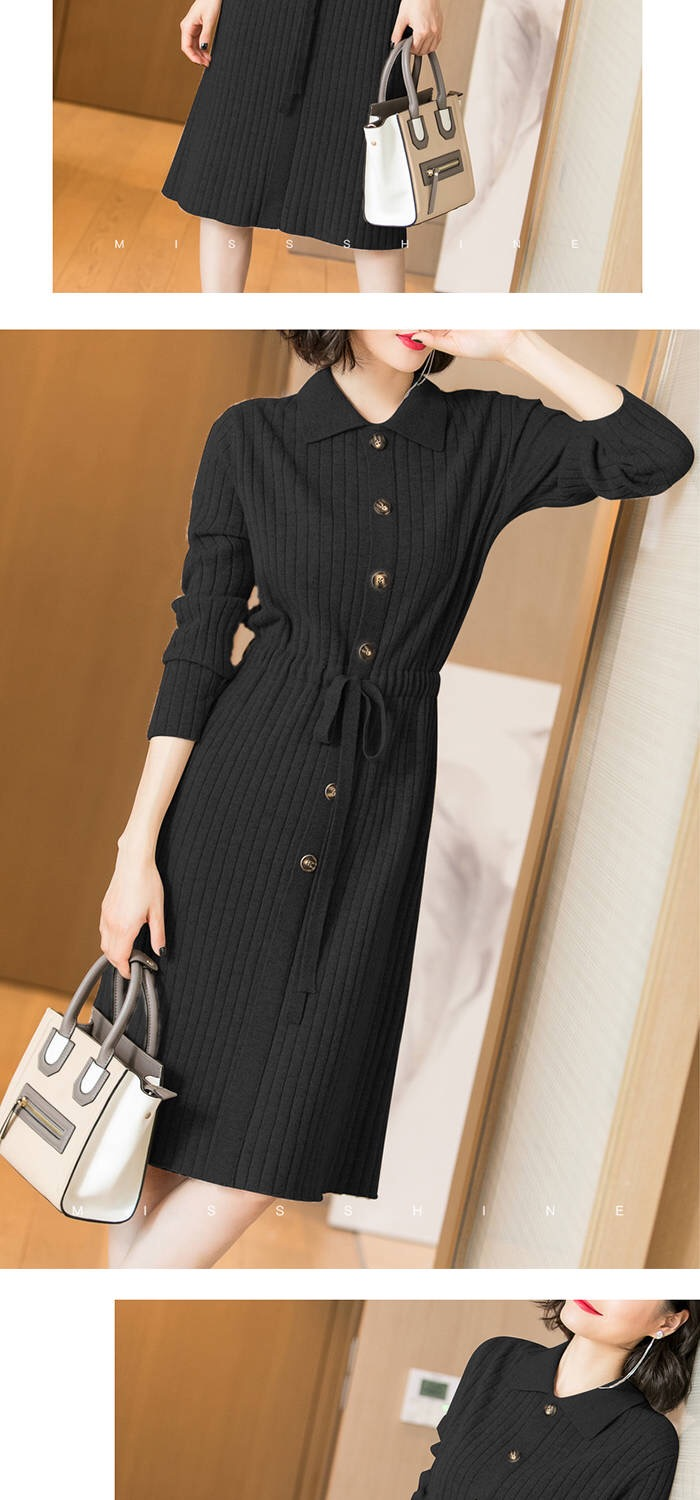 Vangull Women Knitted Dresses Solid Female Long Sleeve Dress 2019 New Autumn Winter Turn-down Collar Button Solid Slim Dresses 66
