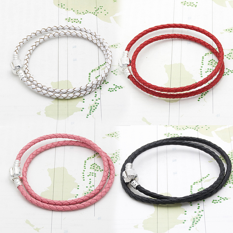 Mingshang Wholesale Basic Chain DIY Bracelet Double Genuine Leather  Bracelet  Single Two Colors Have Plus Size