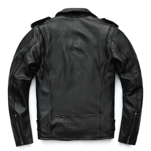 Image 5 - MAPLESTEED Classical Motorcycle Jackets Men Leather Jacket 100% Natural Calf Skin Thick Moto Jacket Winter Sleeve 61 67cm M192
