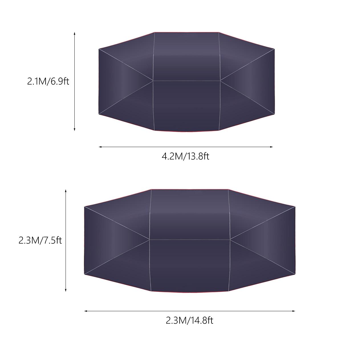 4.5x2.3 M/4.2x2.1 M Portable extérieur voiture véhicule tente voiture parapluie soleil ombre couverture Oxford tissu Polyester couvre sans support - 5