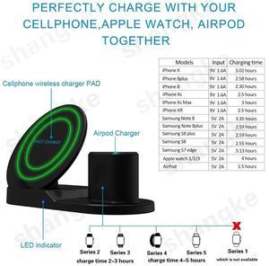 Image 5 - Carregador sem fio, 3 em 1 suporte de carregamento sem fio para apple watch, estação de carregamento para airpods, doca rápida do carregador sem fio (preto)