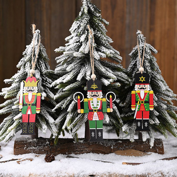 Christmas Wooden Nutcracker soldier Ornaments Dolls Christmas Tree Hanging Wood sign Pendant New Year Party Decoration Kids toys image