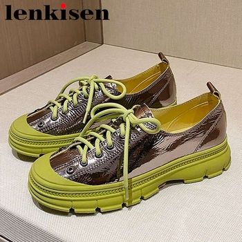 Lenkisen leisure brand shoes women round toe med heel mixed color comfortable high street fashion lace up vulcanized shoes L97