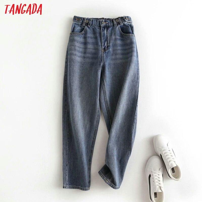 Tangada 2020 Fashion Women Strethy Waist Mom Jeans Pants Pocket Denim Long Trousers Female Pants 2P27