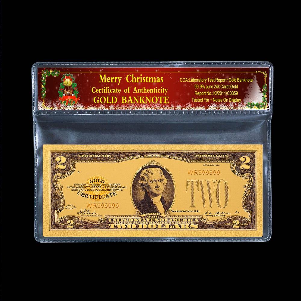Wholesale 50pcs US $ 2 dollar Crafts Banknotes golden plastic paper money Beauty