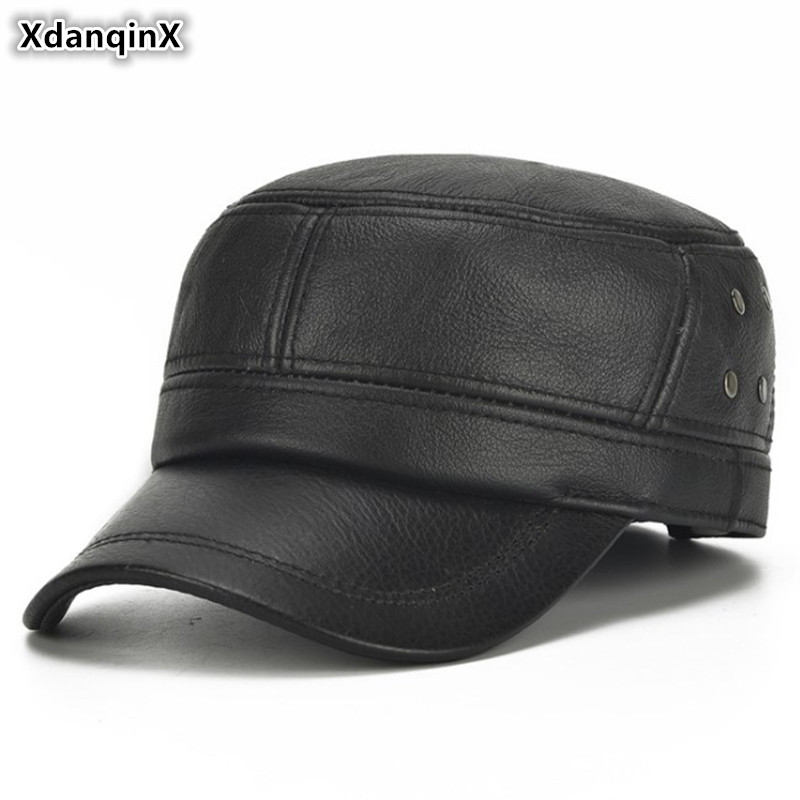 XdanqinX Men's Earmuffs Hat Genuine Leather Cap Army Military Hats Cowhide Leather Hat Adjustable Size Men Warm Hat Brands Caps